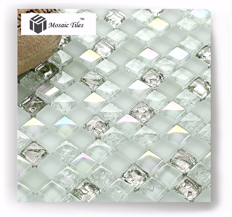Tst White Glass Tiles Iridescent Aqua Kitchen Backsplash Tile Mosaic