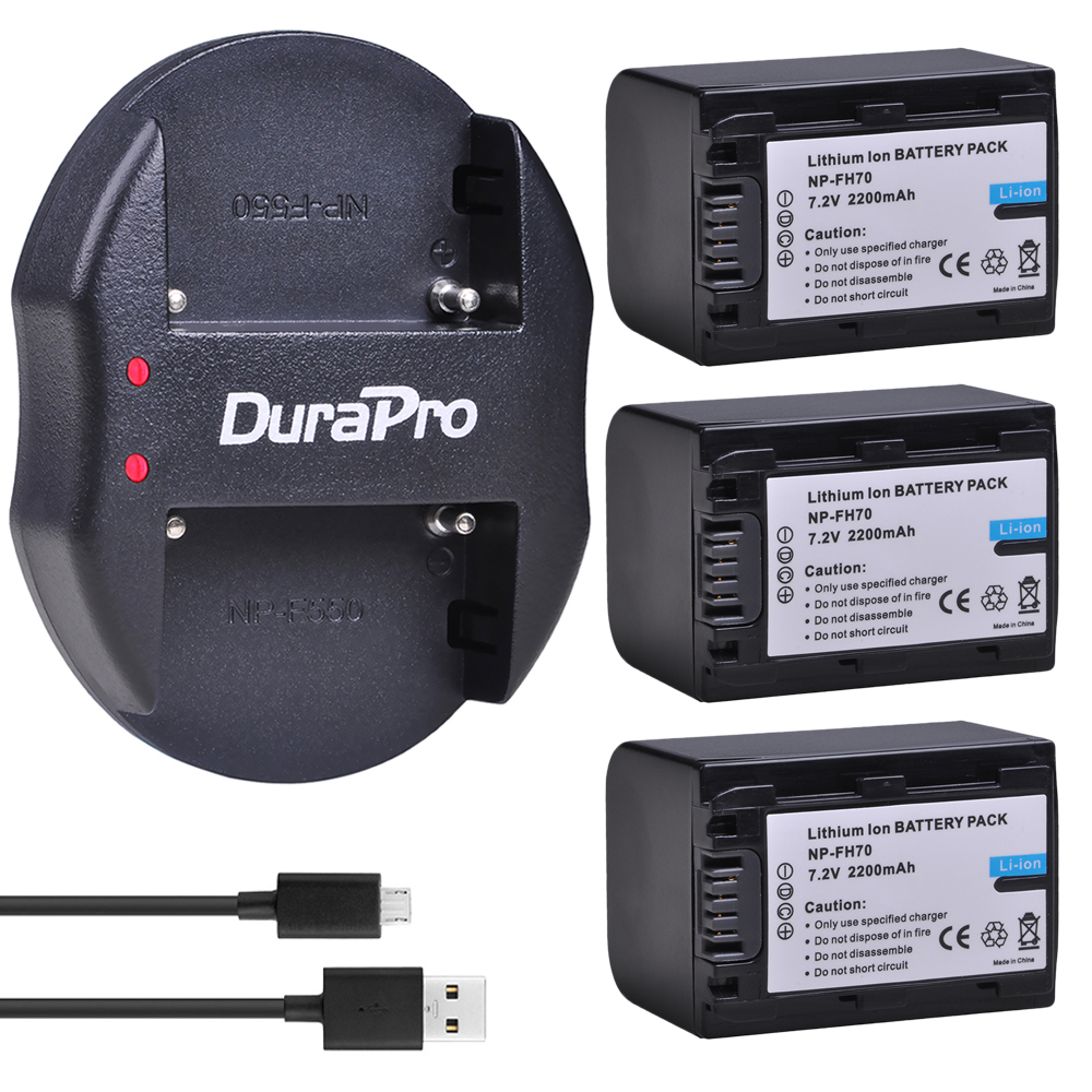3 pc 3000 mAh NP-FH70 NP FH70 Caméra Batterie + Chargeur USB Pour Sony NP-FH30 FH70 FH100 A230 a330 A290 A380 DVD650 HC20 HDR-HC9