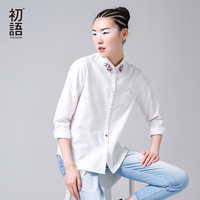 Toyouth 2016 New Arrival Women Casual Cotton Blouses Shirts Autumn Printed Turn Down Collar Shirts
