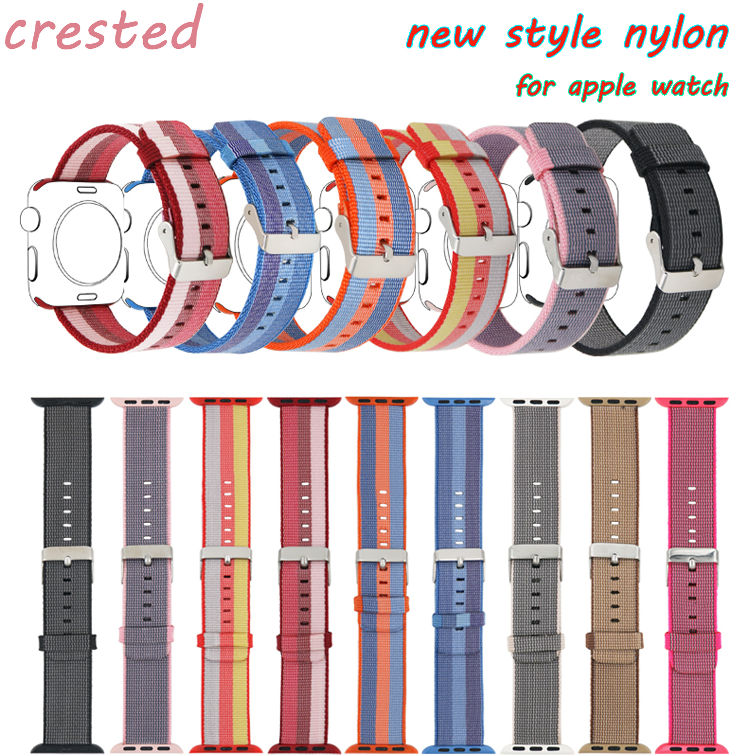 CRESTED sport wove nylon strap for apple watch band 42mm 38mm wrist watchband Stainless Steel Buckle Replacement Band For iWatch 6 colors luxury genuine leather watchband for apple watch sport iwatch 38mm 42mm watch wrist strap bracelect replacement