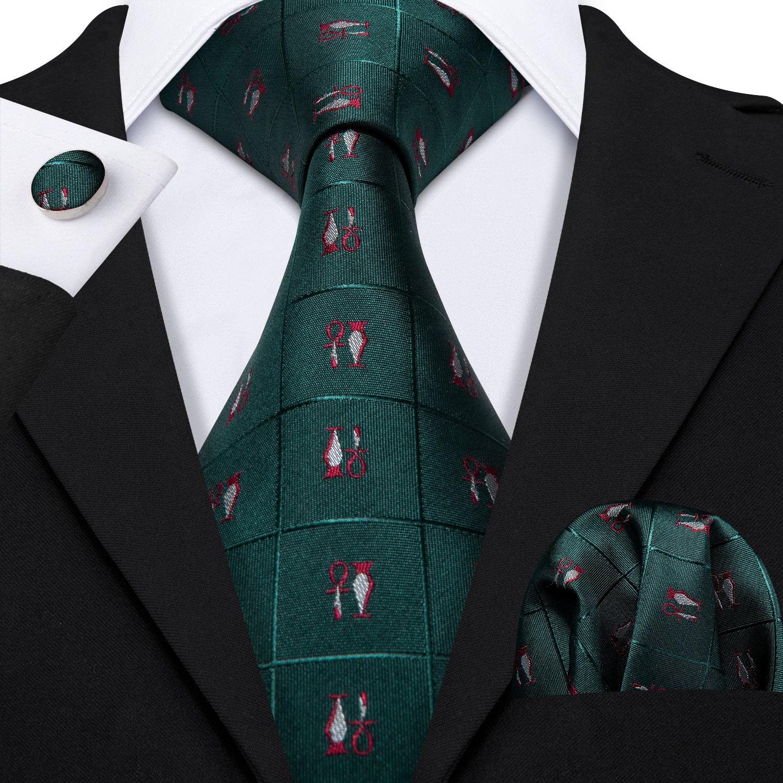 Barry.Wang Fahsion Designers Green Novelty Mens Silk Ties Gravat Hanky Box Gifts Set Ties For Men Wedding Groom Neckties LS-5170