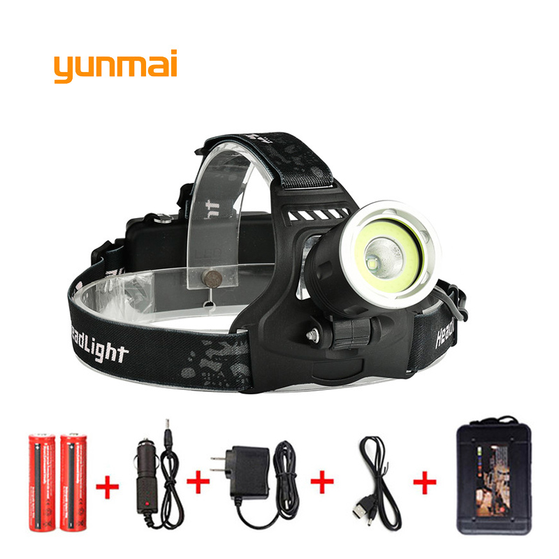 yunmai 10000 Lumen Led Headlamp NEW XML T6+COB USB Headlight Head Lamp Light Fishing Outdoor Camping Riding Head Frontal Torch 8000lm usb rechargeable head lamp torch xml t6 cob led white red light headlamp frontal led running headlight usb cable by 18650