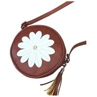 5 Pcs Of 1 Dark Brown PU Leather Female Models Retro Fashion Flowers Tassel Small Round
