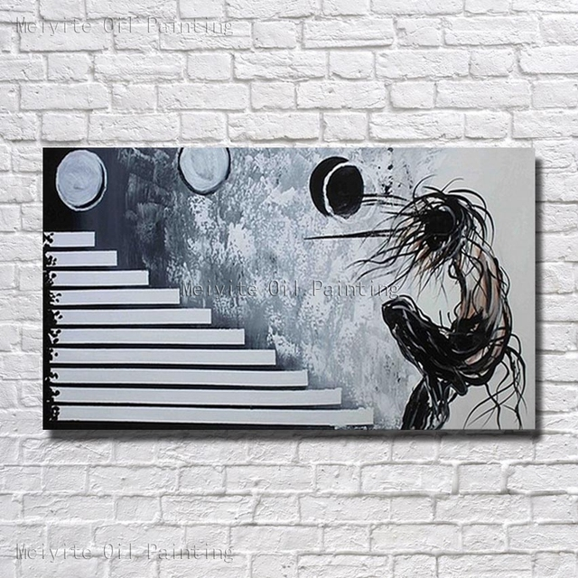 Black And White Color Abstract Portrait Play Ball Canvas Wall Picture Modern Art