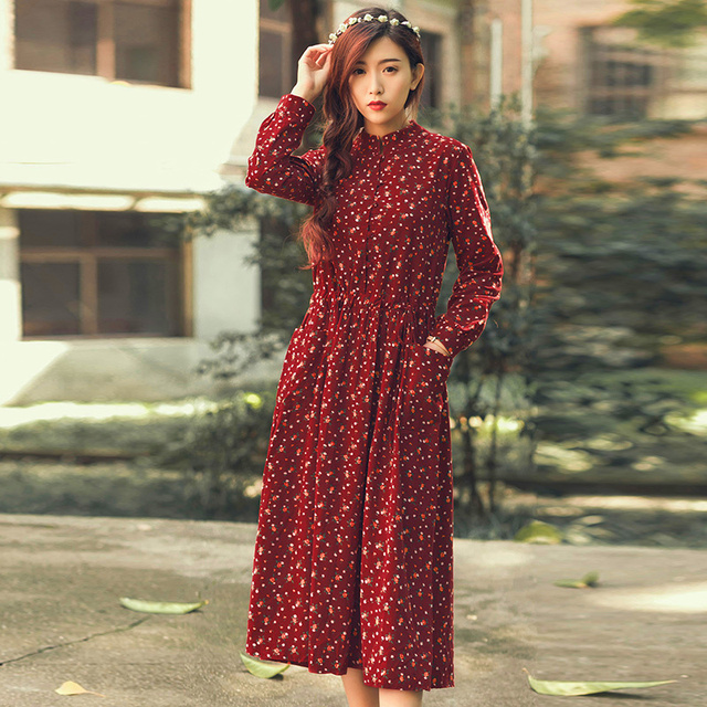 Spring Autumn Dress Floral Print Velour Pleated High Waist Vintage Dress Long Sleeve Loose Casual Dress Vestidos Size S-L