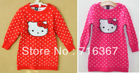 Free Shipping Retail Kids Children Baby Girls Hello Kitty Sweater Dress Baby Girls Kitty Dress For