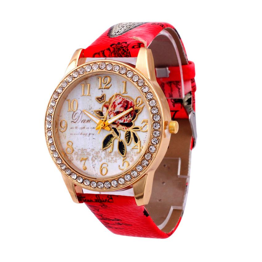 Diamond Dial Watches Women Fashion Luxury PU Leather Strap Wrist Watch Women's Dress Clock Flower Printed Quartz Watch Reloj #JO geneva watches women fashion diamond dial quartz wrist watch womens pu leather analog cheap watch men clock relogio reloj zer