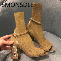 SMONSDLE Новый Демисезонный стрейч вязаный носок сапоги с открытым носком женские ботильоны Bucke шикарные ботинки на толстом каблуке Женская об