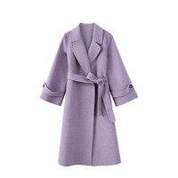 100% шерстяное пальто для женщин 2018 большой воротник Свободная Повседневная женская верхняя одежда зимнее женское Шерстяное Пальто Корейски