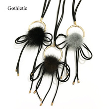 Gothletic Brand Real Mink Fur Ball Pom Pom Necklace Gold Color Metal Circle Long Pendant Necklace for Women Jewelry