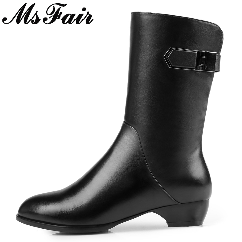 MsFair Pointed Toe Square heel Women's Boots High Heels Ladies Boot 2017 Winter Zipper Buckle Casual Fashion Women Boots double barrel toddler boys s andy cowboy boot square toe