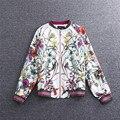 2016 весна и осень Новая Мода Взлетно-Посадочной Полосы Куртка Молнии женская Ретро Цветок Печати Случайные Свободные Куртки