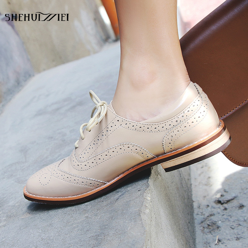 SHEHUIMEI 2018 Genuine Leather Women Shoes Brogues Lace Up Flat Heels Round Toe Derby Shoes Black Oxfords Women Casual Shoes new high quality women shoes solid black spring autumn brogue shoes woman s fretwork lace up flat heels round toe oxfords shoes