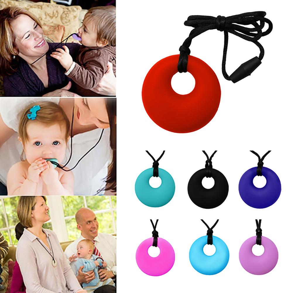 Mom Round Pendant Necklace Baby Teething Nursing Bite Chew Soft Silicone Teether Toys Free Mommy Nursing Necklace Infant Toy