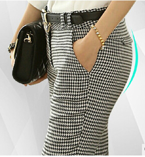 Image 3 - 2019 Spring Summer Autumn Women Slim Casual Pants Work Wear Career Houndstooth Pants Straight Pencil Pants Women trousers female-in Pants & Capris from Women's Clothing