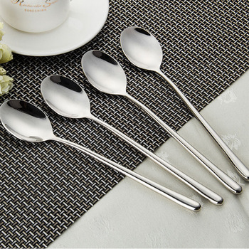 Stainless Steel Dinner Spoon Long Handled Round Rice Spoons Ice Cream Soup Spoon Cocktail Teaspoons Coffee Spoon Set Dinnerware tanie i dobre opinie CN (pochodzenie) Metal 22 1cm 8 7 19 7cm 8 7 2 size you can choose as you need Long handle Dinner spoons Restaurant Hotel Home kitchen Utensils