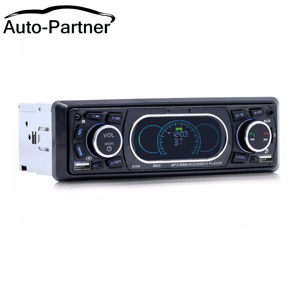 Bluetooth 1-Din Áudio Estéreo Do Carro In-Dash MP3 Radio Player Suporte a USB/TF/AUX/ receptor FM com Controle Remoto Sem Fio 8809