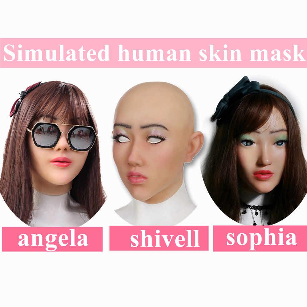 Pele humana artificial rosto realista formas de mama silicone crossdresser transgênero cosplay desfiguração reparação disfarce auto