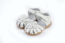 جديد 2019 صندل بناتي من الجلد الأصلي صيفي ووكر حذاء بالزهور نعل مضاد للانزلاق للأطفال الصغار صندل 12.3-18.3