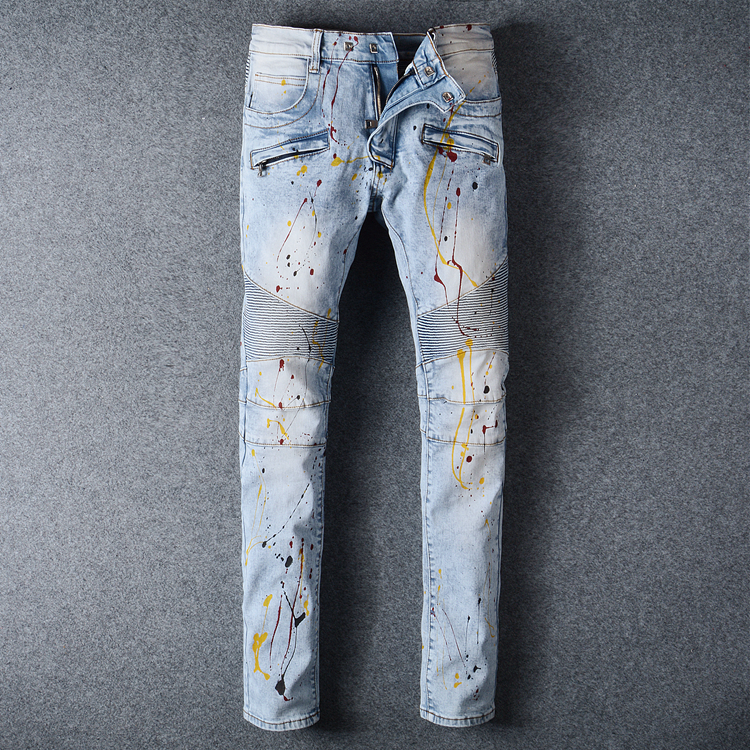 Fashion Denim Jeans for Men Spray paint light blue Motorcycle Biker Pants  Slim Fit Skinny Full Length Trouser Mens Jeans Femme