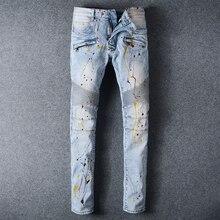 Fashion Denim Jeans for Men Spray paint light blue Motorcycle Biker Pants Slim Fit Skinny Full Length Trouser Mens Jeans Femme