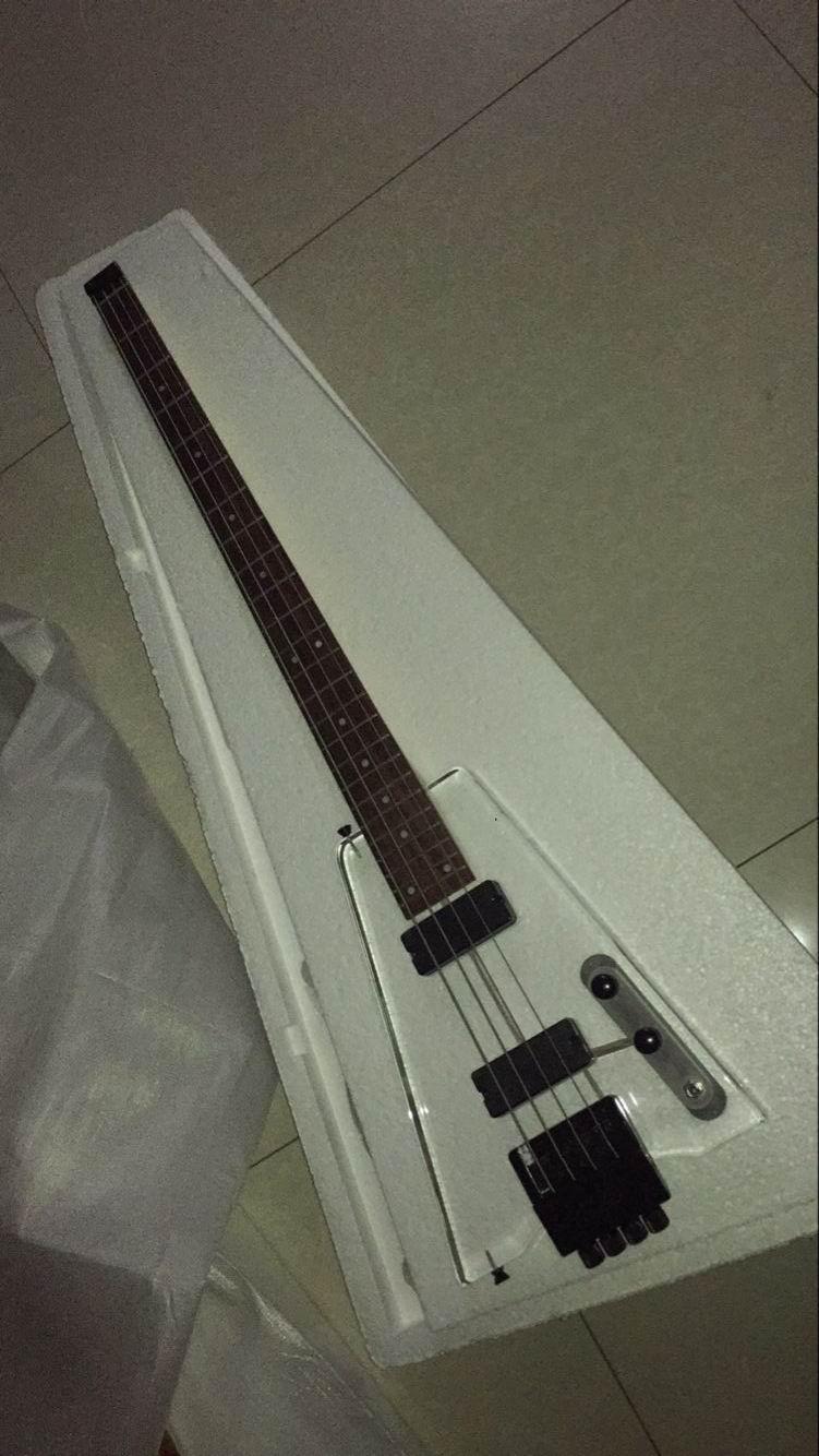 Gros Transparent En Plexiglas Sans Tête Guitare Basse 4 Cordes Basse guitare 161118
