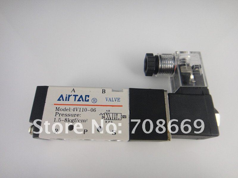 4V110-06 5Ports2Position Single Solenoid Pneumatic Air Valve 1/8 BSPT DC12V