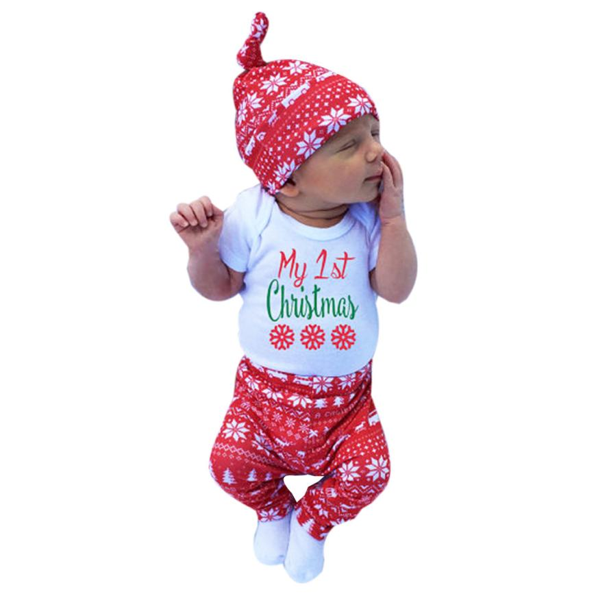 2017 Baby Kids Clothes Set Newborn Infant  Boy Girl Romper Tops+Pants+Hat Christmas 3PCS Fashion  cotton set a##  dropship