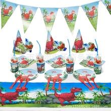 Dinosaur Party Theme Cup / Plate / Tablecloth / Hat / Flag / Napkin / Cutlery Set Birthday Wedding Decoration Kids Hot children s birthday dinosaur cutlery party supplies set paper hat paper cup paper tablecloth gift bag props