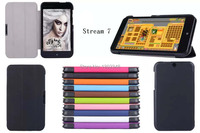Ultra Slim Cass Grain Pattern 3 Fold Folio Stand PU Leather Skin Shell Cover Tablet Case