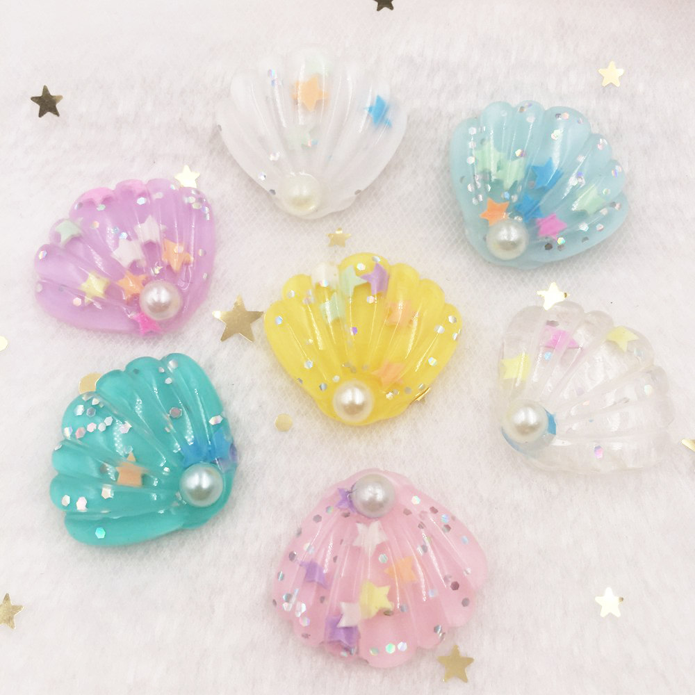 Glitter Colorful Pearl Paillette Shell Flat Back  Cabochon Stone Ornament Home Figurines Craft DIY Scrapbook OW89