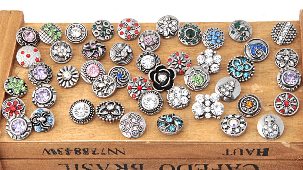 Hot Sell Assorted Metal Ginger Rhinestone 12mm Snap Buttons For Diy Bracelet Jewelry image