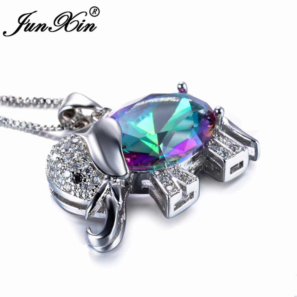 d51c5ce805 ... JUNXIN Women Rainbow Elephant Necklace New Fashion Wedding Animal  Jewelry 925 Sterling Silver Filled Necklaces Pendants ...