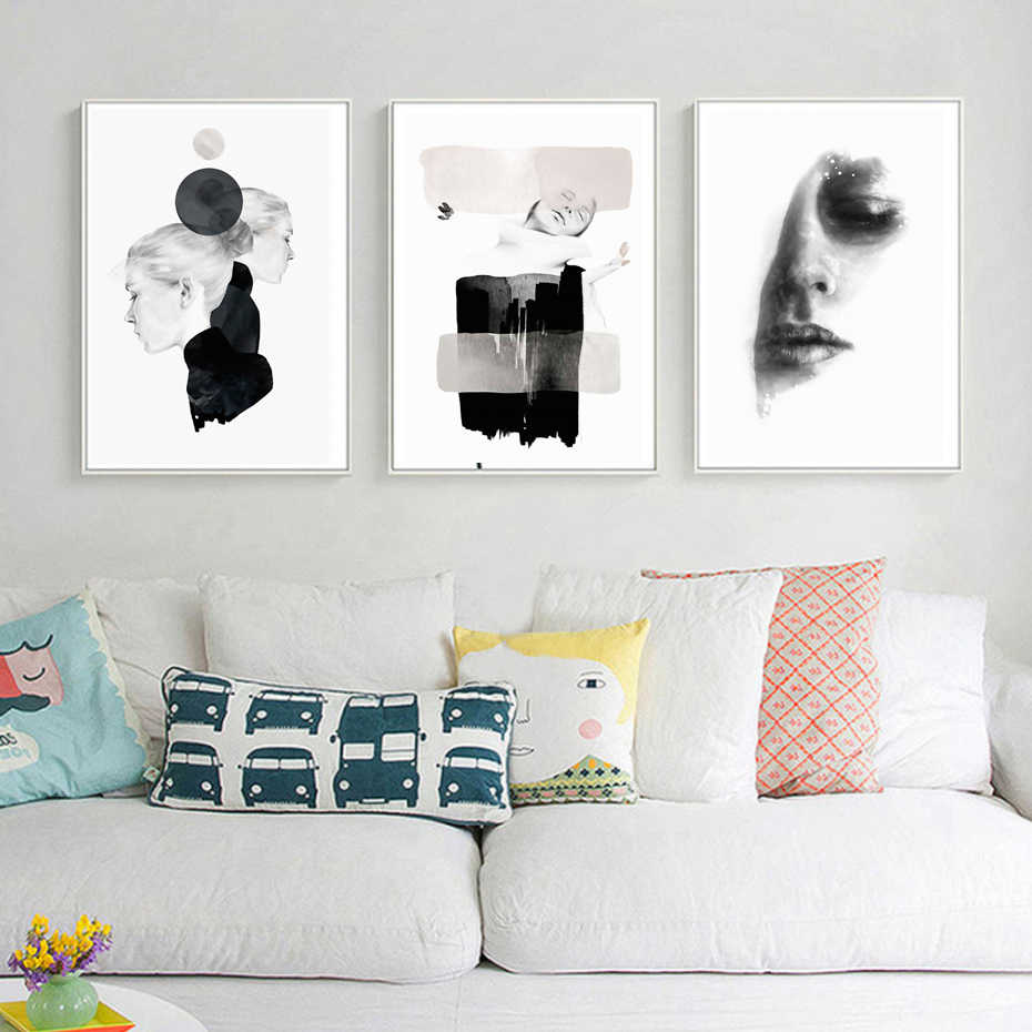 Abstract Beauty Fashion Canvas Painting Women Poster Print Black White Nordic Wall Art Pictures for Salon Living Room Home Decor