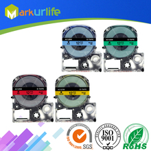 4 PCS/Lot Cassette Tape for EPSON LW-300 LW-400 LW-600P LW-700 LC-4WBN9 Printer 12mm x 8m, Black on Red/Green/Blue/Yellow