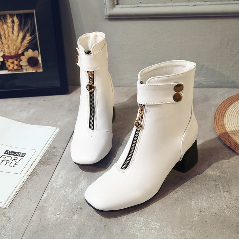 Plus Size 34 43 women shoes 2018 spring autumn woman boots ankle boots Soft Leather Women Zip European Style Black Martin Boots in Ankle Boots from Shoes
