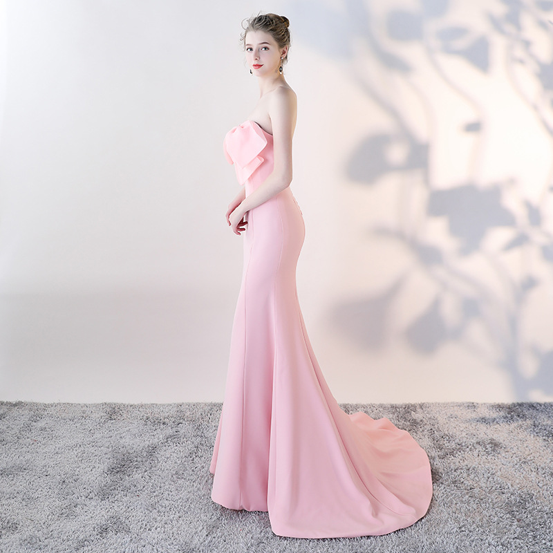 Strapless   evening     dress   with train Mermaid prom   dress   2019 stretchable fabric Long   Evening   gown bridal shower vestido de noiva