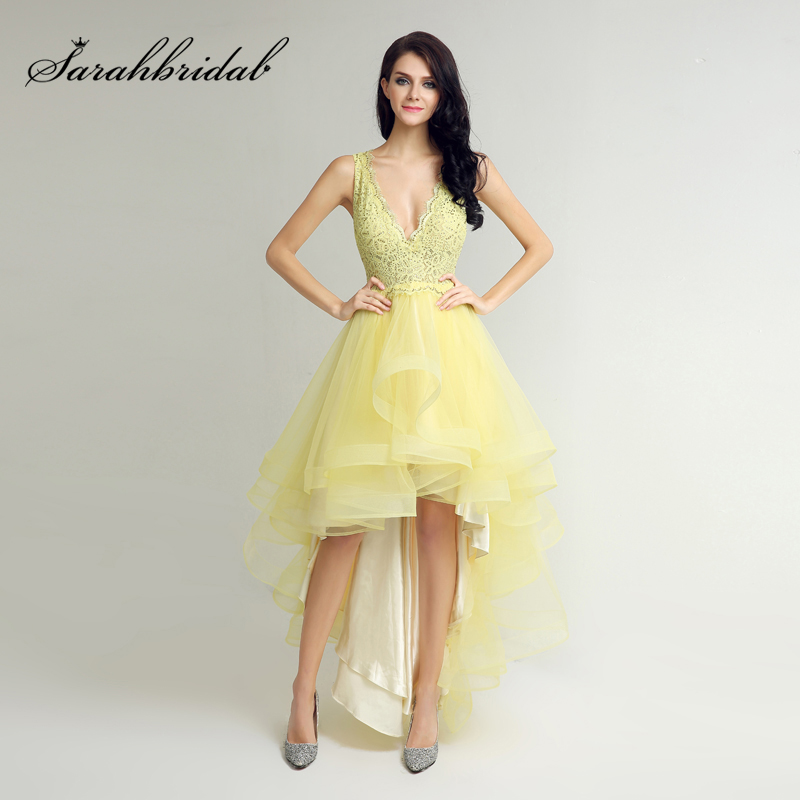 2017 Deep V-Neck Yellow Asymmetrical Prom Dresses With Lace Beaded Bodice Tulle Ruched Skirt Gala Party Gowns For Fashion Girls