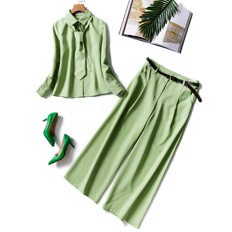Unique Designing Elegant Women Casual Two Pieces Pants Sets Blouse with Tie Flare Pants Solid Color