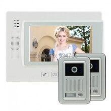 7 pulgadas de seguridad de vídeo por cable portero automático sistema de teléfono timbre del IR de la cámara del Monitor 2V1