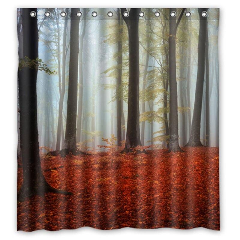 Forests Autumn Fog Tree purple flower Shower Curtains Custom ...