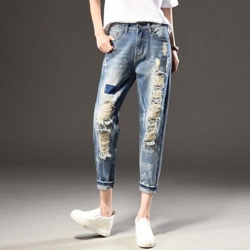 Femme taille élastique pantalon Jeans femme longueur cheville bleu déchiré Jeans pour femmes Sexy genou trous Jeans pantalon grande taille 7XL 6XL