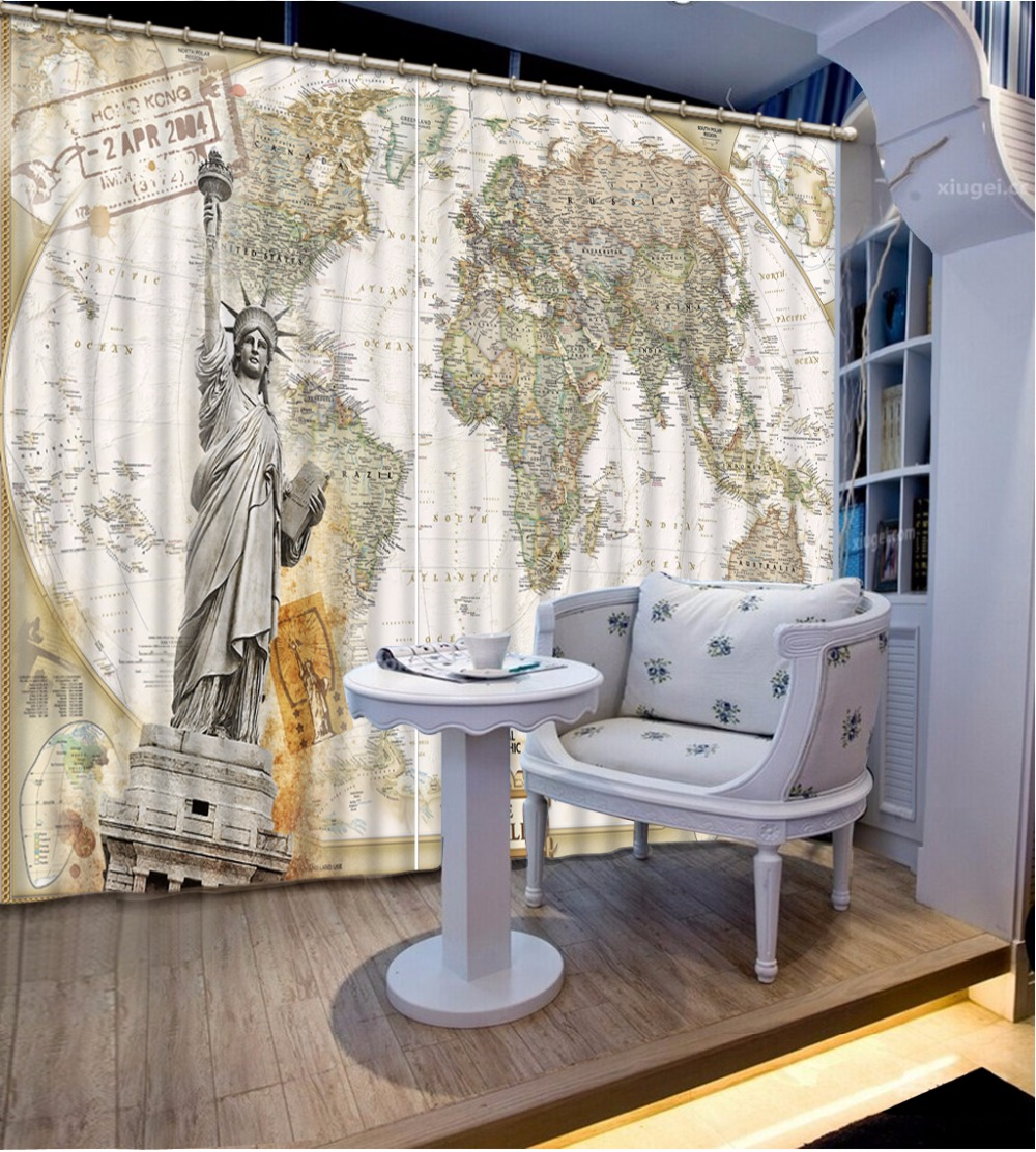 World map print Custom size Curtain For Living room Office Polyester Blackout Window Curtain Drapes Hook Grommets 1 or 2 Panel