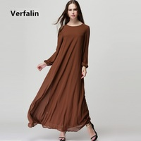 Verfalin Dress New 2017 Spring Women Long Sleeve Chiffon Kaftan Abaya Muslim Robe Vestidos Floor Length