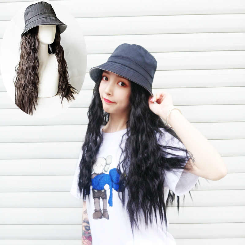 Wig + Hat one piece Set newest style women sun hat with Curly Human Hair Wigs sun protection caps for ladies