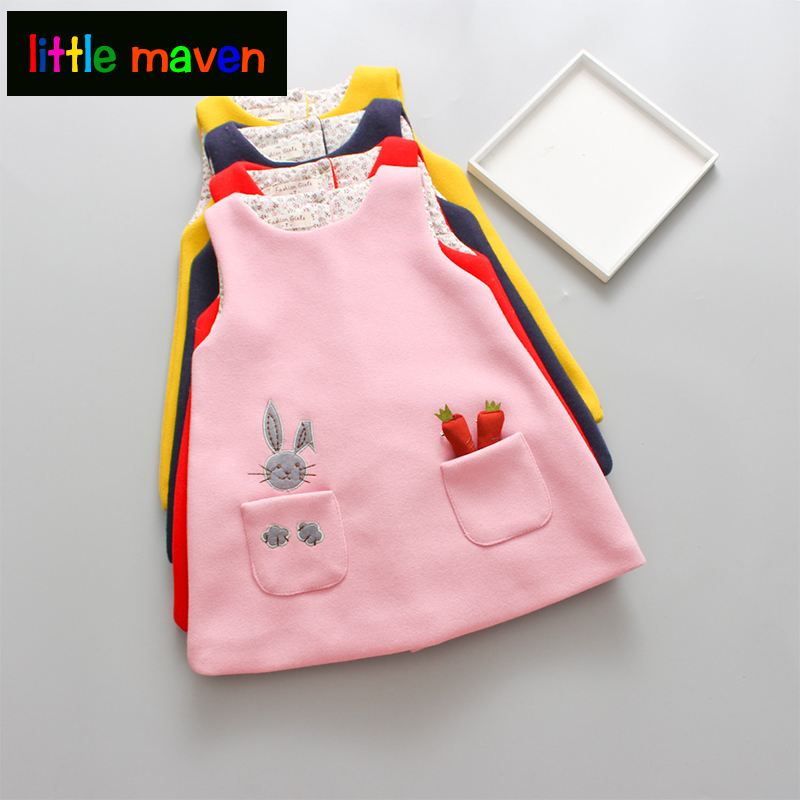 Cute Rabbit Baby Girls Princess Dress Sleeveless Autumn Winter Dresses For Toddler 2-8Yrs Children Clothing Dress with 3D Carrot sleeveless 2017 new autumn fall winter girls princess dress brand vest dress solid cute children dress chidlren clothing 2 8y