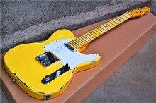 Tangwood высокого качества GYTL-2014 Античный желтый с белой пластиной электрогитары, можно настроить, бесплатная доставка