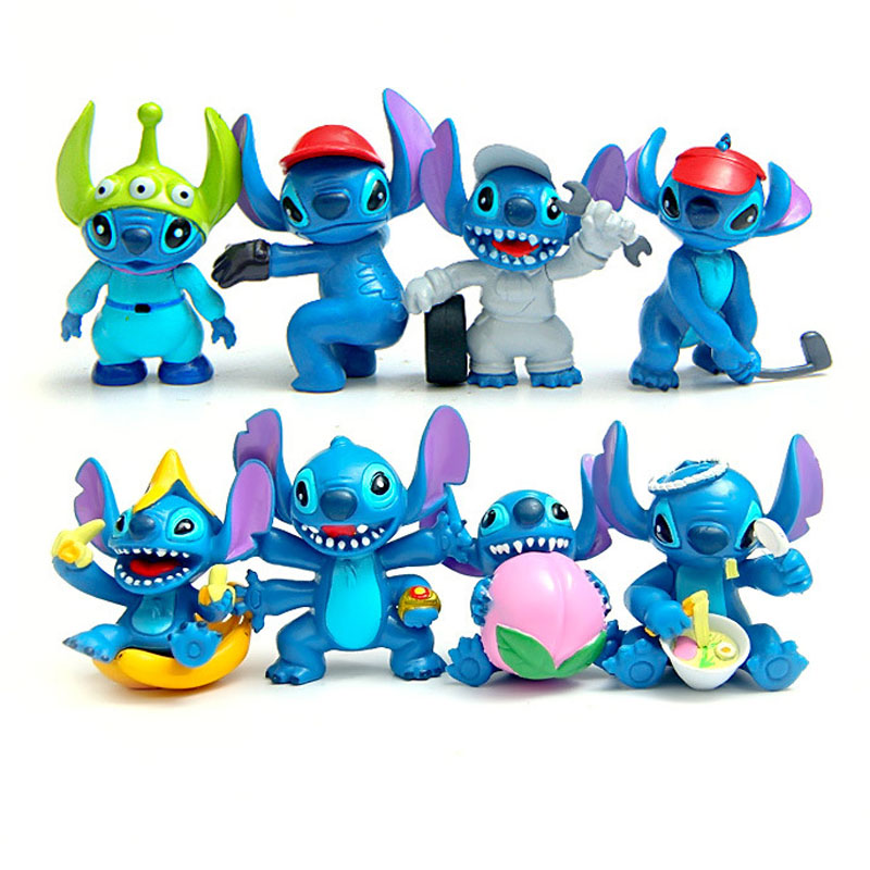 8pcs/lot Stitch action figurine keychain toy set 2016 New 3rd generation Anime stitch figura car key chain ring party supply image