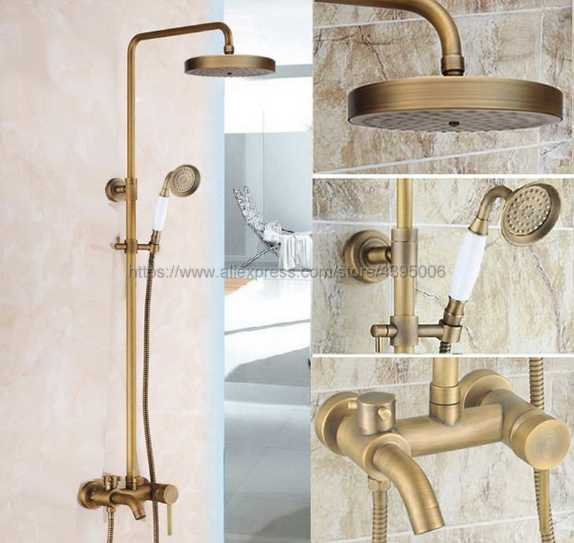 Antique Brass Shower Faucets Bathroom Shower Mixer Taps Wall Mount Tub Shower Faucet with Handshower Brs187 bathroom vintage shower wall surface mount brass rainfall bathtub shower faucet set antique brass with handshower tub spout