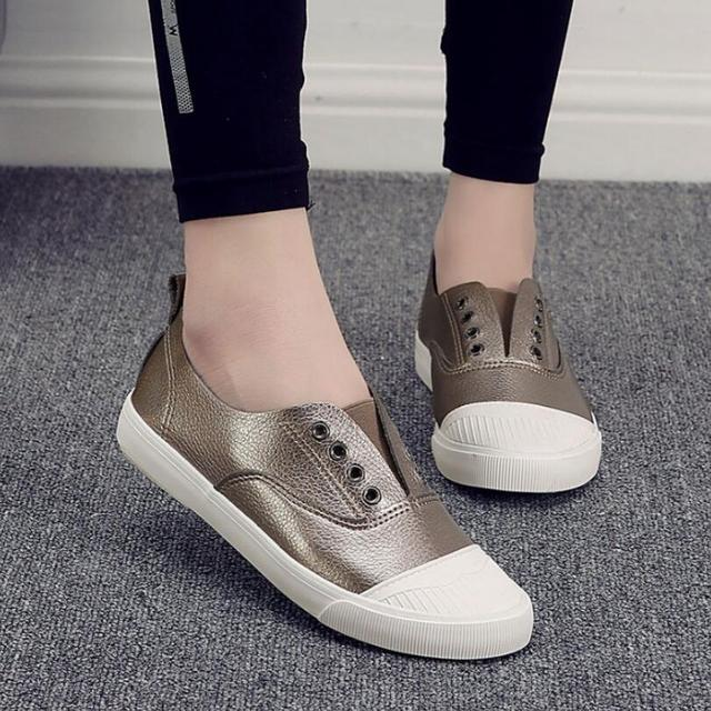 {D&H}Brand Shoes  NEW PU Women Casual Shoes Star Style Discount Fashion Gun Color Breathable Flat With Shoes tenis feminino